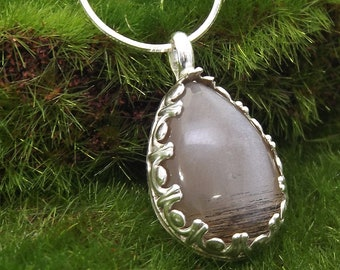 Silver Moonstone Pendant Necklace, Moonstone Jewelry, Moonstone Necklace, Teardrop Necklace