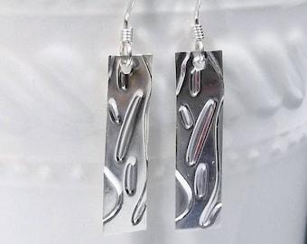 Confetti Rectangle Sterling Silver Drop Earrings