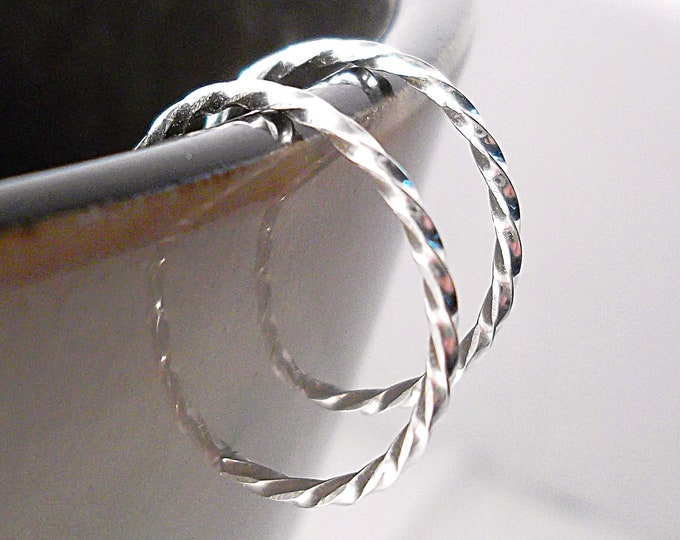 Sterling Silver Hoop Earrings Tiny Twisted Hoops