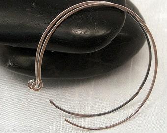 Large Silver Hoop Earrings, Sterling Silver Large 2 inch Handmade Reverse Hoop Earrings, Thin, Comfortable Earrings