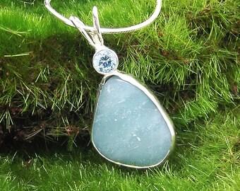 Handmade Amazonite Pendant Necklace, Women's Necklace, Blue Green Stone, Cabochon Jewelry