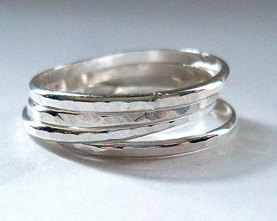 Hammered Sterling Silver Ring, Stacking Silver Ring
