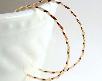 Gold Hoop Earrings, Twisted Gold Reverse Hoops, Small or Tiny