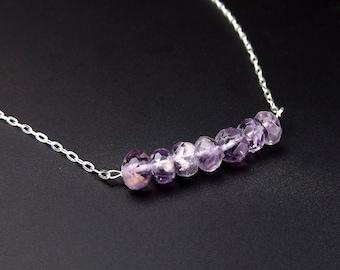 Delicate Amethyst Gemstone Necklace • Simple Amethyst Birthstone Necklace • Sterling Silver • Dainty Amethyst Gemstone Bar Necklace