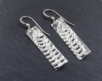 Sterling Silver Drop Earrings with Embossed Fern Leaf