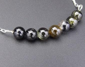 Delicate Dark Tourmaline Gemstone Necklace • Simple Tourmaline Birthstone Necklace • Sterling Silver • Dainty Gemstone Bar Necklace