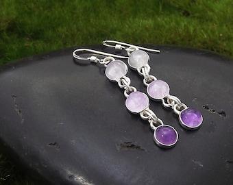 Amethyst Earrings, Ombre Purple Amethyst Gemstone Earrings, Gift For Her, Amethyst Quartz Long Earrings
