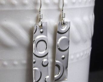Circle Sterling Silver Drop Earrings, Geometric, Circle Jewelry, Shape Jewelry