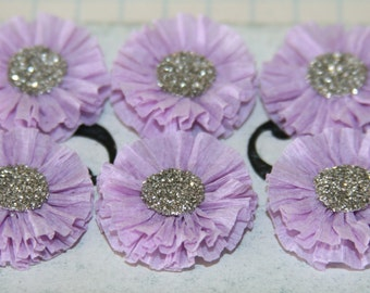 6 Small Lavender Crepe Paper Rosettes Spring Easter