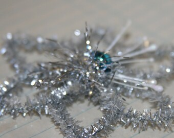 Handmade Vintage Style Star Snowflake Ornament w/Blue Vintage Mercury Glass Bead Center