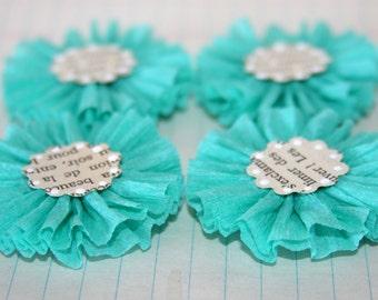4 Dark Sea Foam Green Crepe Paper Flowers