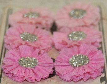 6 Small Crepe Paper Rosettes (Pinks)