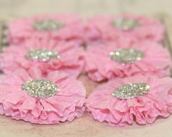 6 Small Pink Crepe Paper Rosettes