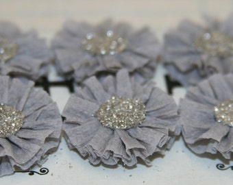 6 Small Dove (light) Grey Crepe Paper Rosettes