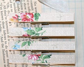 Vintage Floral Wallpaper Decorative Clothespin Magnets