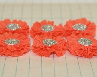 6 Small Orange Crepe Paper Flowers
