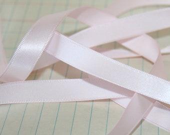 3 Yards Pastel Pink Satin Ribbon 3/8 inch wide Ribbon