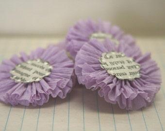 4 Lavender Crepe Paper Flowers