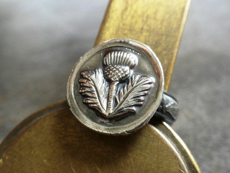 Outlander Ring Scottish Thistle Jewelry Signet image 0