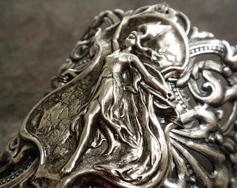 Viking Jewelry Valkyrie Norse Goddess Wide Silver Cuff Bracelet