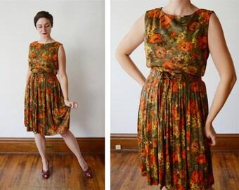 1960s Nylon Jersey Fall Floral Dress - M/L