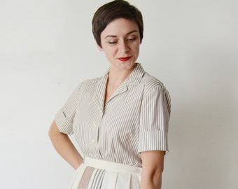1950s White and Brown Striped Short Sleeve Blouse - M