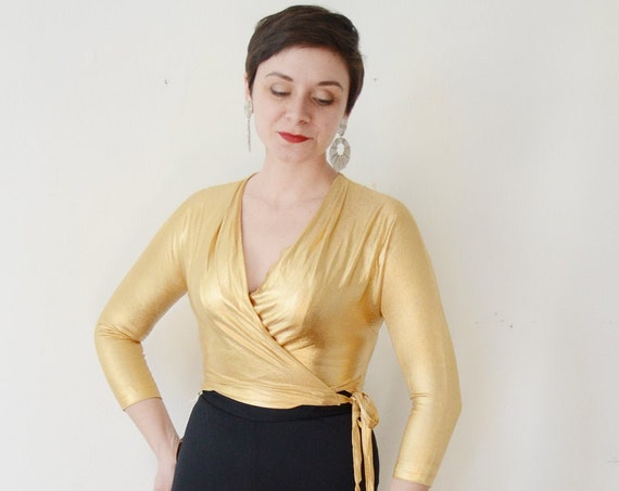 1950s Gold Wrap Blouse - S