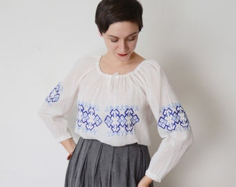 1980s Gauze White Embroidered Top - S/M