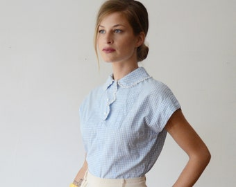 1950s Blue Gingham Blouse - S