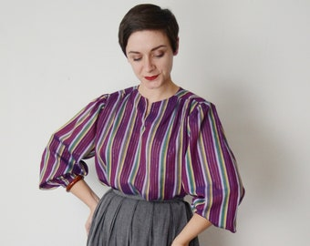 70s Purple Metallic Striped Top - M