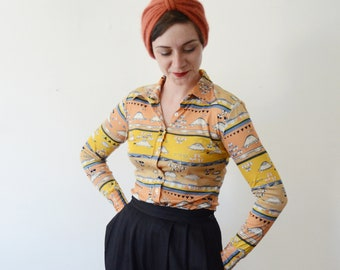1970s Turtle Time Novelty Disco Blouse - XS