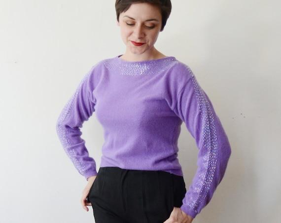 1980s Purple Beaded Sweater - M