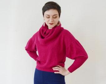 80s Fuchsia Wool Cowl Neck Sweater - M