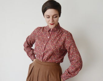 1970s Red Paisley Blouse  - M