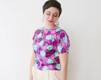 1960s Silk Floral Blouse - M