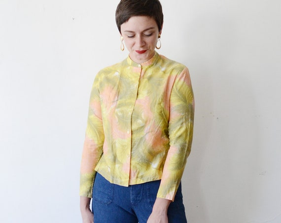 1960s Feather Print Chartreuse and Peach Blouse - S