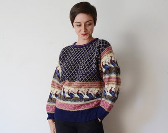 1980s Peacock Sweater - M