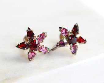 1940s/1950s Pink and Red Star Rhinestone Earrings