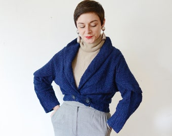 1950s Navy Wool Cropped Jacket - S/M
