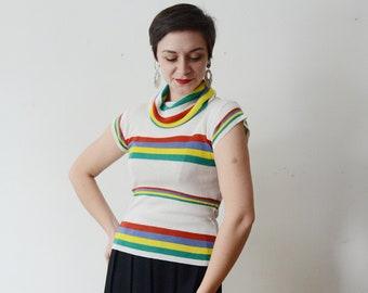 1970s Rainbow Striped Cowl Neck Top - S