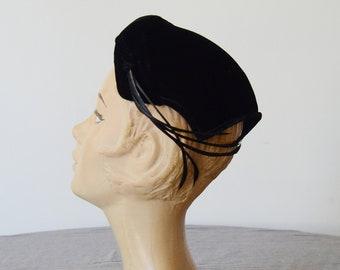 1950s Black Velvet Calot Hat