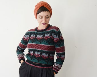 1980s Floral Wool Sweater - S