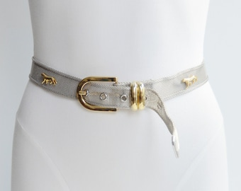 80s Silver and Gold Mesh Jaguar Belt