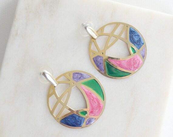 1980s Pierced Stained Glass Earrings