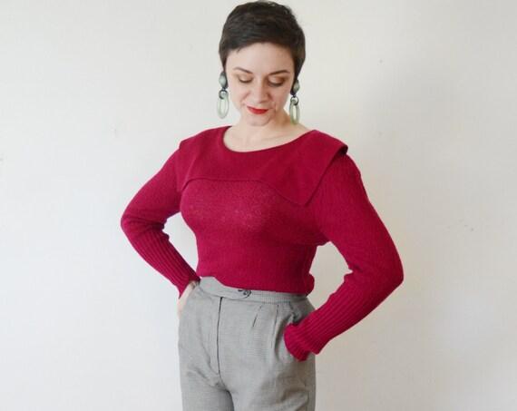 80s Fuchsia Acrylic Sweater - M/L