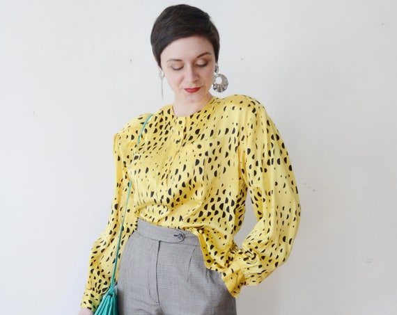 1980s Yellow and Black Silk Blouse - M