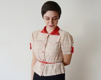 1940s Red and Plaid Blouse - S