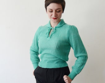 1970s Green Sweater - S/M