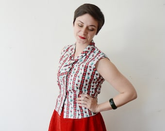 1950s Christmas Blouse - S