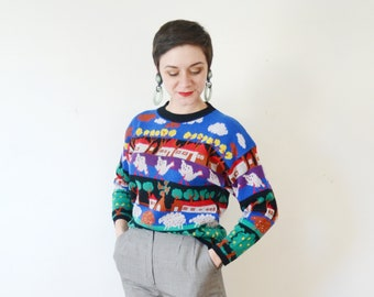 80s Farm Novelty Sweater - M
